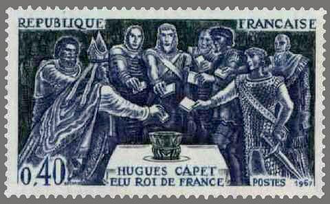 timbre france 1967 - 1537 - Nobles votant pour l'election de Hugues Capet comme roi des Francs - Serie grands noms e l'Histoire