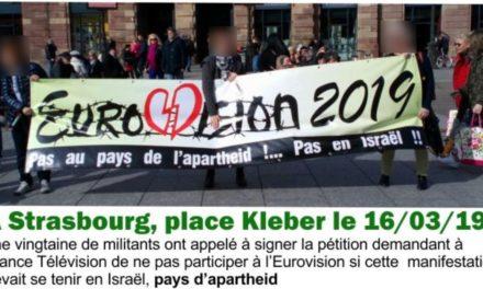 A Strasbourg, une pétition contre l'eurovision 2019 dans un pays d'apartheid