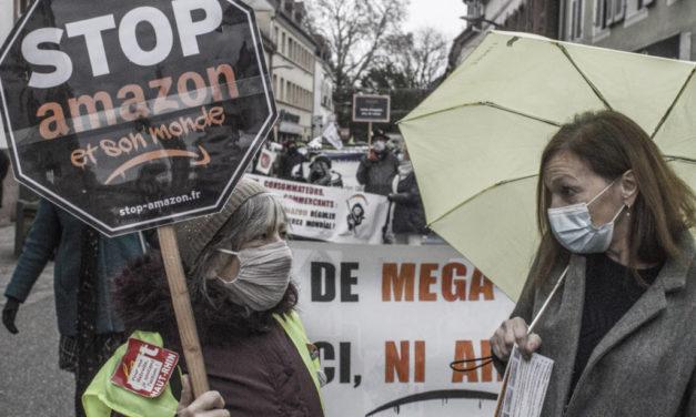 A Ensisheim, entre Colmar et Mulhouse, nouvelle manifestation contre Amazon (et sonmonde)