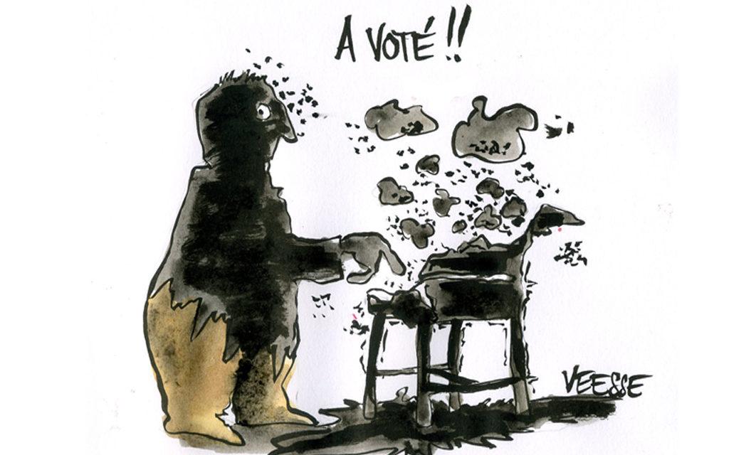 Panne d'une machine à voter dans un bureau de vote à Mulhouse lors du premier tour des élections régionales
